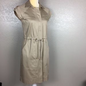 Ellen Tracy Khaki Utility Style Full Zipper Dress